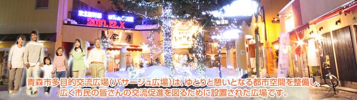 青森市多目的交流広場(パサージュ広場)は、ゆとりと憩いとなる都市空間を整備し、広く市民の皆さんの交流促進を図るために設置された広場です。